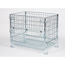 STACKABLE FOLDABLE WIRE MESH CONTAINER