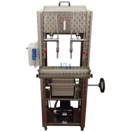 SEMIAUTOMATIC STAINLESS FILLER HIGH VERSION FOR BOTTLES, 4 SPOUTS AND FILLED BY PUMP, PROBE AND FILTER 20 PLATES