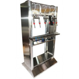 SEMIAUTOMATIC STAINLESS FILLER HIGH VERSION FOR BOTTLES, 6 SPOUTS AND FILLED BY GRAVITY