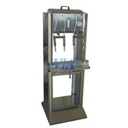 SEMIAUTOMATIC STAINLESS FILLER HIGH VERSION FOR BOTTLES, 2 SPOUTS AND FILLED BY GRAVITY