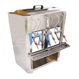 SEMI-AUTOMATIC INOX FILLER VERSION OF 6-SPOUTS TABLE FOR FILLING GRAVITY